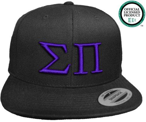 SIGMA PI Flat Brim Snapback Hat Purple Letters / Sig Pi | SigPi Frat | Fraternity Cap