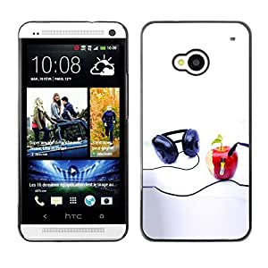 LECELL -- Funda protectora / Cubierta / Piel For HTC One M7 -- Funny Apple Music Player --