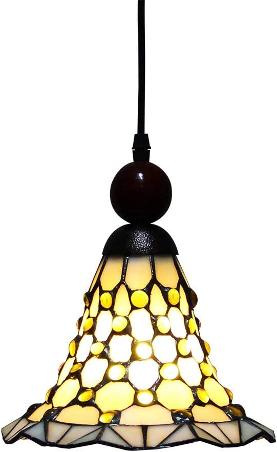 Makenier On-Sale Tiffany Style Stained Glass Bell-mouthed Beaded Vintage Small Ceiling Light Fixture, 8 Inches Lampshade