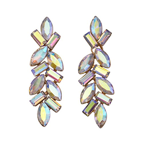 Rosemarie Collections Women's Crystal Rhinestone Bauble Statement Drop Earrings (Gold Tone/Aurora Borealis) ()