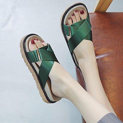 Sandalias QPSSP Sandalias Verde De Señoras Zapatos De Sandalias Sandalias Sandalias Sandalias Playa 4pnqw40P