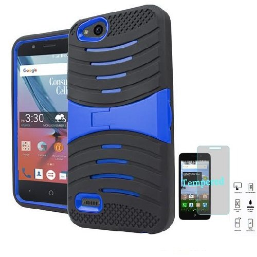 Phone Case for ZTE AVID 557 (Consumer Cellular) , Heavy Duty Hard Armor Cover Case Kickstand + Tempered Glass Screen Protector (Black-blue)