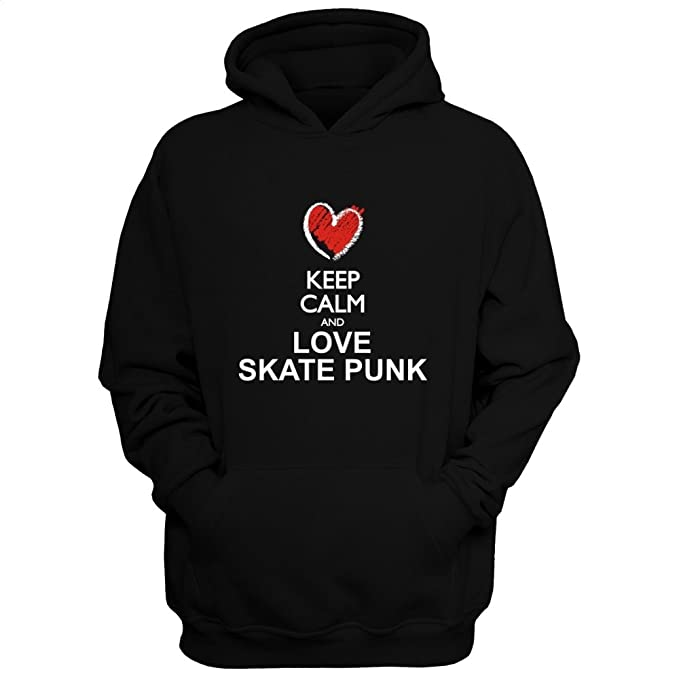 Idakoos Keep calm and love Skate Punk chalk style - Musica - Sudadera con capucha: Amazon.es: Ropa y accesorios