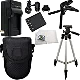 Essential Accessory Kit for Nikon COOLPIX S200, S203, S210, S220, S230, S3000, S4000, S500, S510, S5100, S520, S570, S60, S600, S700, S80. Includes Replacement EN-EL10 Battery + AC/DC Rapid Home & Travel Charger + Full Size Tripod + Pistol Grip/Table Top