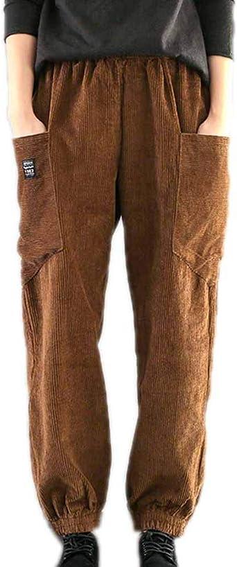 Huateng Pantalones De Pana Retro De Otono Invierno Para Mujer De Moda Pantalones Casuales De Talla Grande Pantalones De Pies De Haz Amazon Es Ropa Y Accesorios