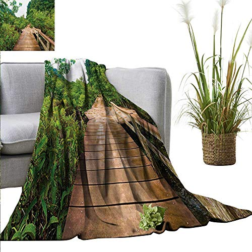 (AndyTours Swaddle Blanket,Forest,Wood Bridge Around Mangrove Forest Thapom Krabi Thailand Natural Landscape,Pale Brown Green,Lightweight Extra Soft Skin Fabric,Not Allergic 50