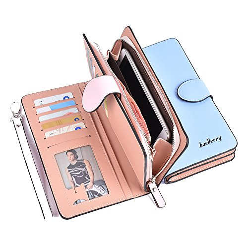 Price comparison product image Gottowin Women's Leather Long Style Wallet Clutch Purse Handbag Card / Coin / Cash / Cellphone Holder Organizer Wristlet with Zipper & Snap Closure + Stylus pen (Baby Blue)