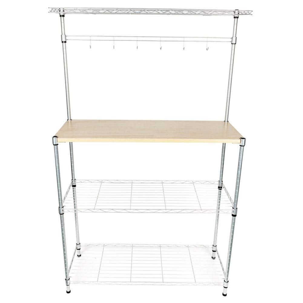 Lorchwise Four-Tier Powder Coating Baker's Rack Microwave Oven Rack with MDF Board & 6pcs Wave Rod Silver- Shipped from The US Warehouse by Lorchwise