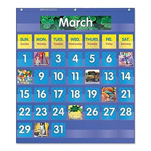* Monthly Calendar Pocket Chart, 25 1/2 x 10 x 0.13, Blue/Clear
