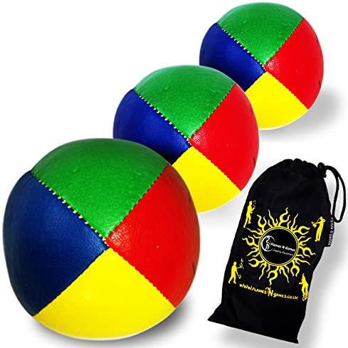 3x Pro Thud Juggling Balls Professional Juggling Balls Set of 3 Travel Bag! Blue LEATHER