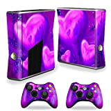 xbox 360 slim skins for console - MightySkins Protective Vinyl Skin Decal Cover for Microsoft Xbox 360 S Slim + 2 Controller skins wrap sticker skins Purple Heart
