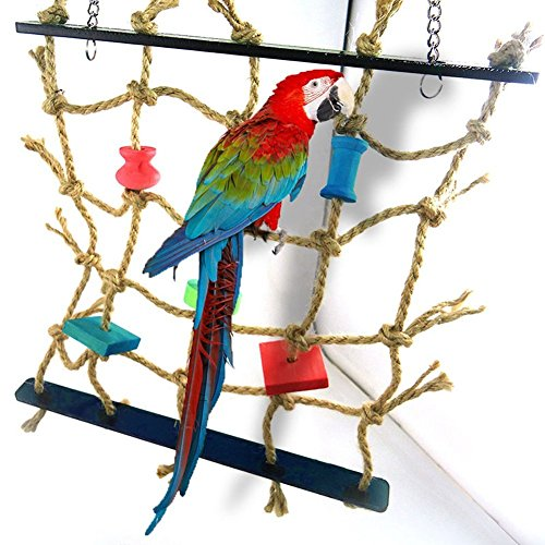 Pet Supplies Parrot Bird Cage Toy Game Hanging Rope Climbing Net Swing Ladder Parakeet Budgie Macaw Play Activity Gym…