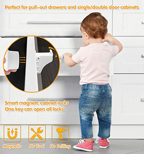 Magnetic Cabinet Locks, Baby Proofing Child Safety Cabinet Locks(16 Locks+2 Keys), Baby Safety Locks for Cabinets and Drawers- Kitchen Drawer Baby Cabinet Locks Child Safety Latches