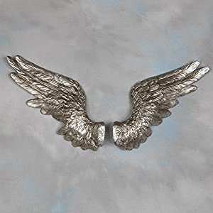 Large silver angel wings wall decor wall art for Angel wings wall decoration uk