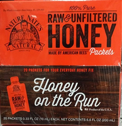 Nature Nate's Honey on the Run, Raw, Unfiltered 20 Packets per Box (Pack of 3 Boxes) .33 Oz per packet - Purse 0.33 Ounce