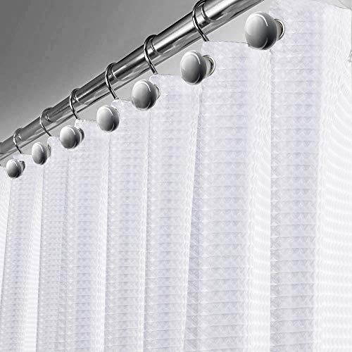 Creative Scents Waffle Shower Curtain - with PEVA Shower Liner Mildew Resistant, White Fabric Soft Touch Waterproof Thick Polyester Decorative Bathroom Curtain, 72 x 72 inch (290 GSM)