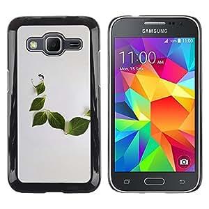 LECELL--Funda protectora / Cubierta / Piel For Samsung Galaxy Core Prime SM-G360 -- Leaf Grey Minimalist Nature Sad --