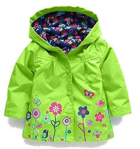 con de ni de larga a Aileese estampado Abrigo manga verde de animal impermeable Uwd8qCC