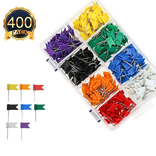 Colored Flag Travel Map Push Pins, Coideal 400 Pack Multicolored Decorative Map Tacks Plastic Head with Steel Point for Cork Bulletin Board, Picture Hanging at Home Office School (8 Assorted Colors) (Flag Thumb Tacks)