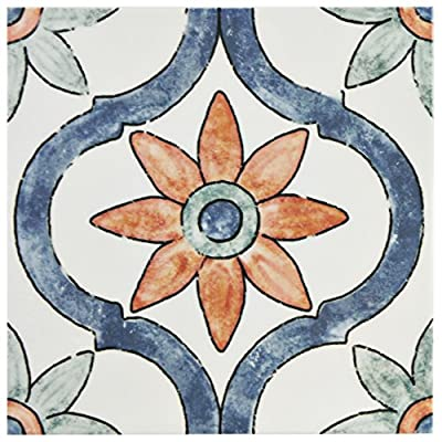 "SomerTile WAEBOUAR Loire Ceramic Wall Tile, 7.875"" x 7.875"", White/Blue/Orange/Green"