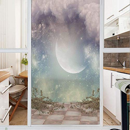 Decorative Window Film,No Glue Frosted Privacy Film,Stained Glass Door Film,Fantasy Landscape Stars Milky Way Half Moon over the Sky View from Balcony,for Home & Office,23.6In. by 78.7In Turquoise Pur