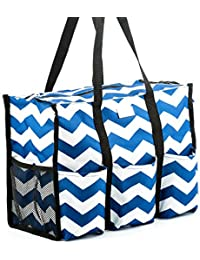 Teacher Tote (Navy Chevron) with Pockets - Perfect Gift for Teacher's Appreciation and Birthday