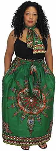 12a626246de83 African Planet Women s Wax New Dashiki Skirt Bow Tie Elastic Waist Ankara  Maxi