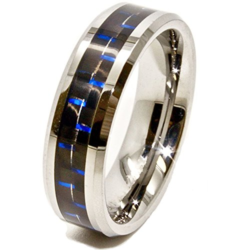 6mm Tungsten Carbide Wedding Ring with Black & Blue Carbon Fiber Inlay Size (10.5)