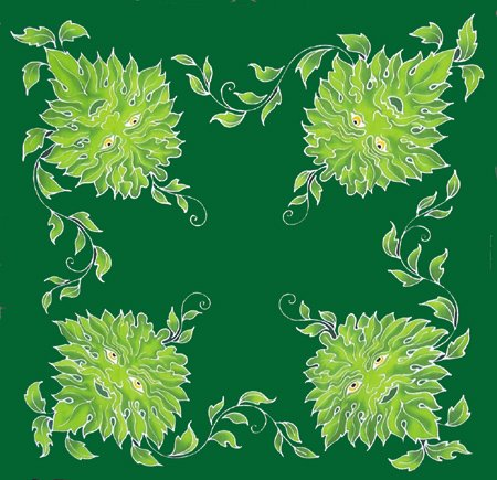 RBI Fortune Telling Toys Altar Cloth Green Man Caftan 3 ft square by RBI