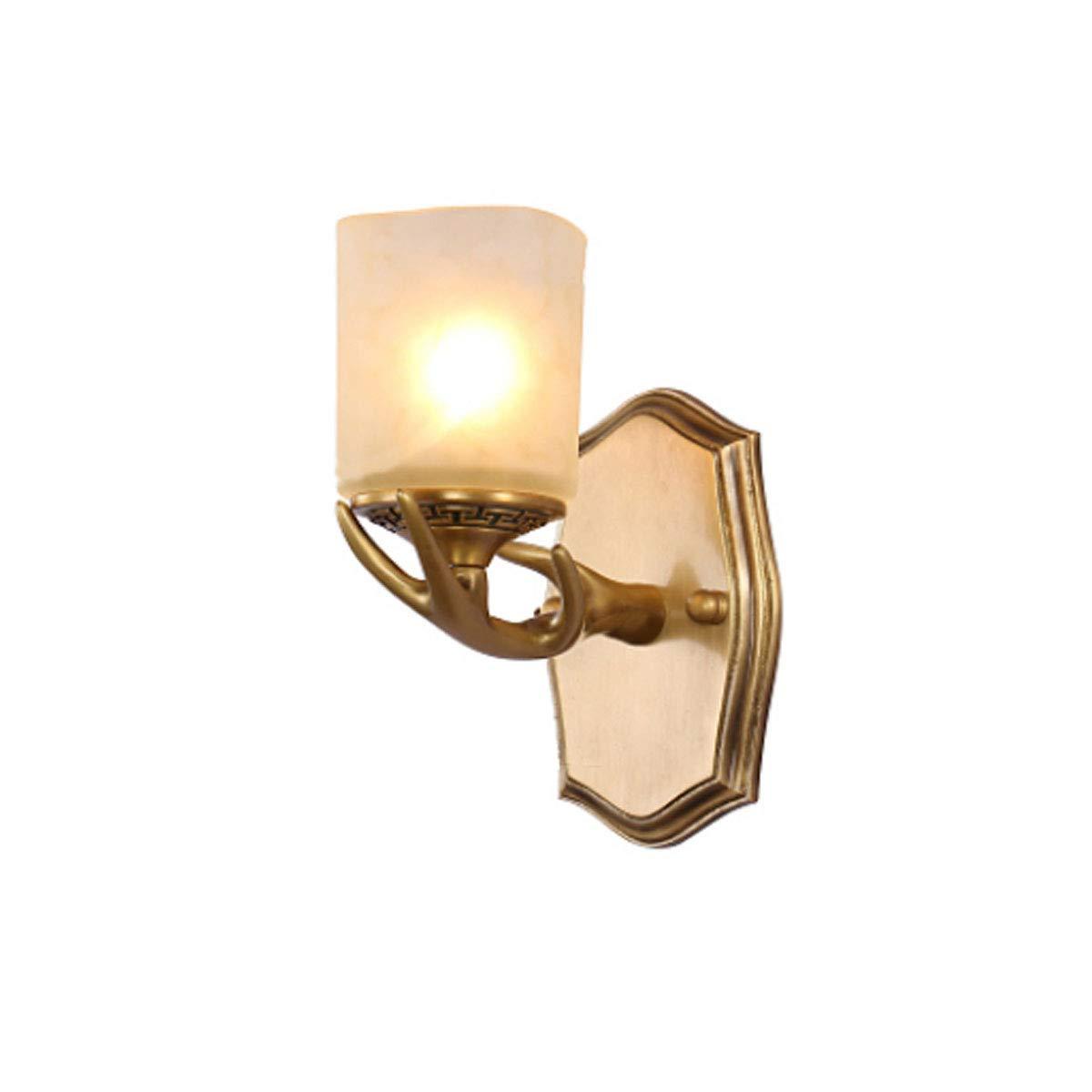 ウォールライト、オール銅製ウォールライト、アントラーアートウォールライト(4.8 * 8 * 9.2インチ) (Color : ブラック) B07R48JJM1 ブラック