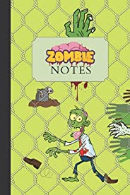 Creepy Zombie Notebook: Green Lined Notebook for Kids