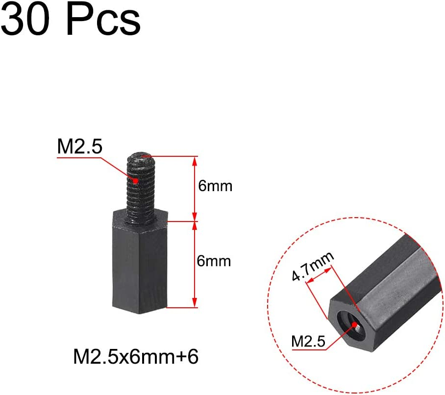 uxcell M2.5x10mm+6mm Male-Female Hex Nylon PCB Motherboard Spacer Standoff for FPV Drone Quadcopter Computer /& Circuit Board Black 30pcs