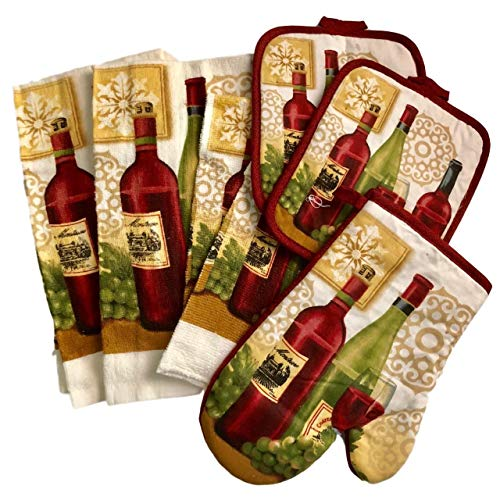 E H 7-Piece Wine Enthusiast Kitchen Linen Set - 2 Towels, 2 Potholders, 2 Dishcloths, One Oven Mitt - Burgundy, Green, Gold by E H