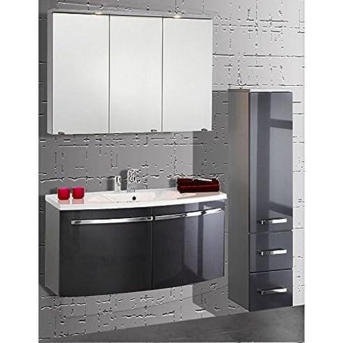 Badmöbel Set 3 Teilig ○ Anthrazit Hochglanz U0026 Alufarbig ○ Badezimmer  Komplettset: Spiegelschrank Mit