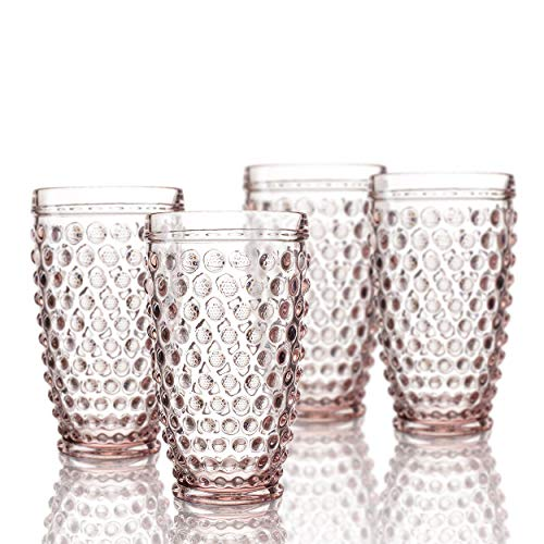 Beverage Highball (Elle Decor 229804-HBPU Bistro Dot 4 Pc Set Highball, Pink-Glass Elegant Barware and Drinkware, Dishwasher Safe, 13.5 oz)