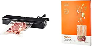 Anova Culinary ANVS01-US00 Anova Precision Vacuum Sealer, Includes 10 Precut Bags, For Sous Vide and Food Storage & Anova Pre-Cut Sous Vide Vacuum Sealer bags, One size, Clear