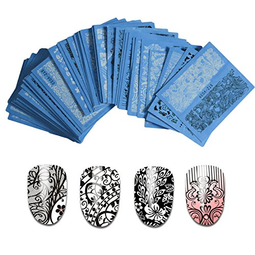 48pcs Nail Sticker White Black Water Decal Sexy Lace Flower for DIY Tips Nails Styling Tools Nail Decorations
