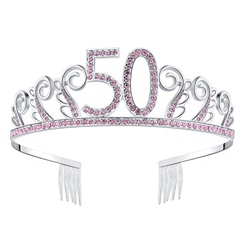 BABEYOND Crystal Birthday Tiara Rhinestone Princess Crown Happy Birthday Crowns Silver Diamante Happy 50th Birthday Tiara Crown (Pink-50th)]()