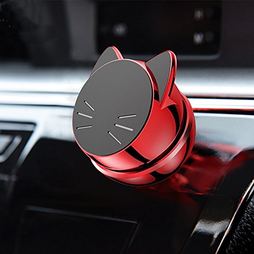 Universal Magnetic Car Mount - For any Phone, GPS or Light Tablet | Stylish Black Chrome One-Hand & One-Sec Dash Holder, 100 to Safeness & Comfort (red) by Unknown