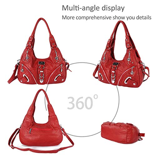 Totes bag slouch Crossbody Leather DORIS Large shoulder NICOLE handbags amp; Women Hobo Red AUKyXwc0gq
