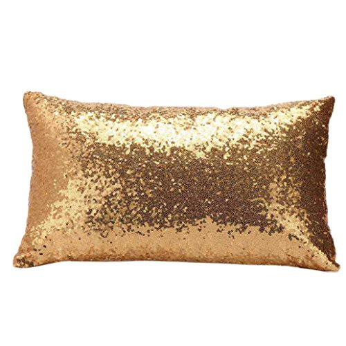 Iuhan Fashion Sequins Sofa Bed Home Decoration Festival Pillow Case Cushion Cover (Yellow) (Gold Pillow)