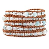 Chan Luu Amazonite Mix Mix Graduated Wrap Bracelet/ Natural Brown Leather