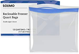 Amazon Brand - Solimo Freezer Quart Bags, 120 Count