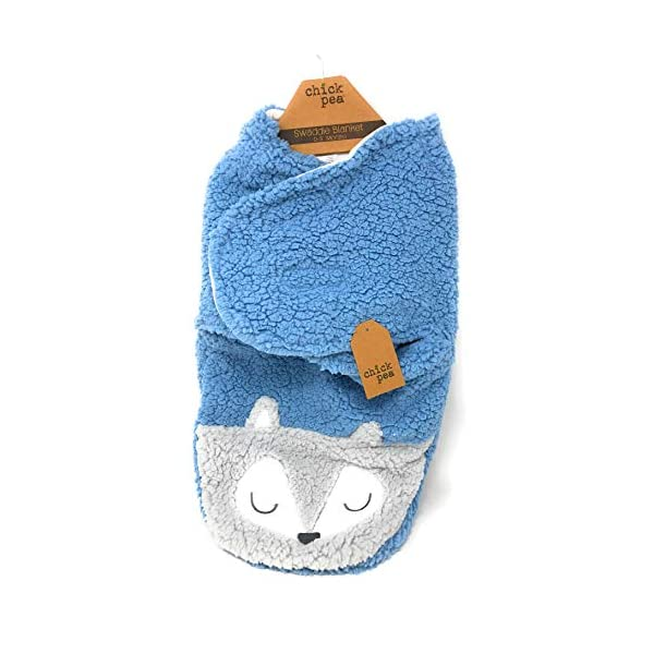 Chick Pea Swaddling Blue/Grey Fox Blanket (Size 0-3 Months)