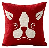 Pet Dog Boston Terrier Best Cotton Linen Throw Pillow Covers Cushion Cover Decorative Sofa Bedroom Living Room Square 18 Inches
