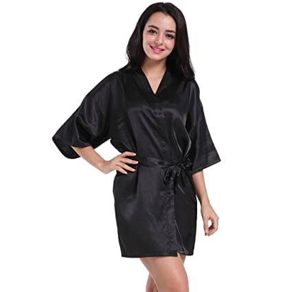 a06d75cd10 Laimeng world Women s Short Satin Lounge Kimono Robes Bridesmaids Charmeuse  Lingerie Sleepwear (Black