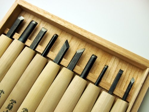 10 Pcs Chisel Set in Wooden Box, Engraving Knife, Edge Material : SK5 Steel