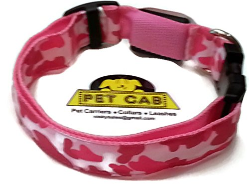 LED Dog Collars Camo Camouflage Pet Print 3 Sizes 4 Colors Medium Pink 3 Modes Slow Fast Flashing Steady Lights Night Walking Safety Safely See Dark Traffic Battery Replace Flexible Washable