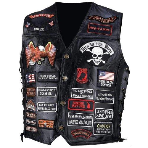 - Diamond Plate Rock Design Genuine Buffalo Leather Biker Vest With 42 Patches- 3x