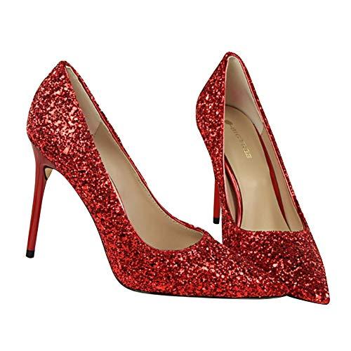 Pointu Chaussures Rouge Soirée Talons Robe Banquet Chaussures Parti Pour À Étincelants Court De Talons De De Bureau Hauts De Travail Soirée Yudesun Femmes Sequins gfS5qA5U